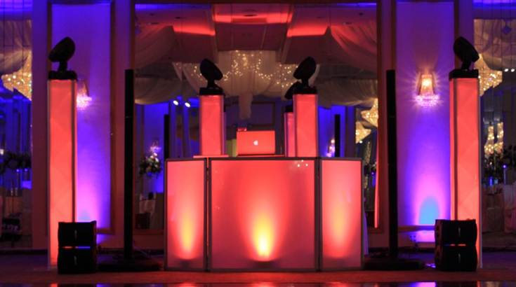 DJ Booth LED Red for weddings in Toronto