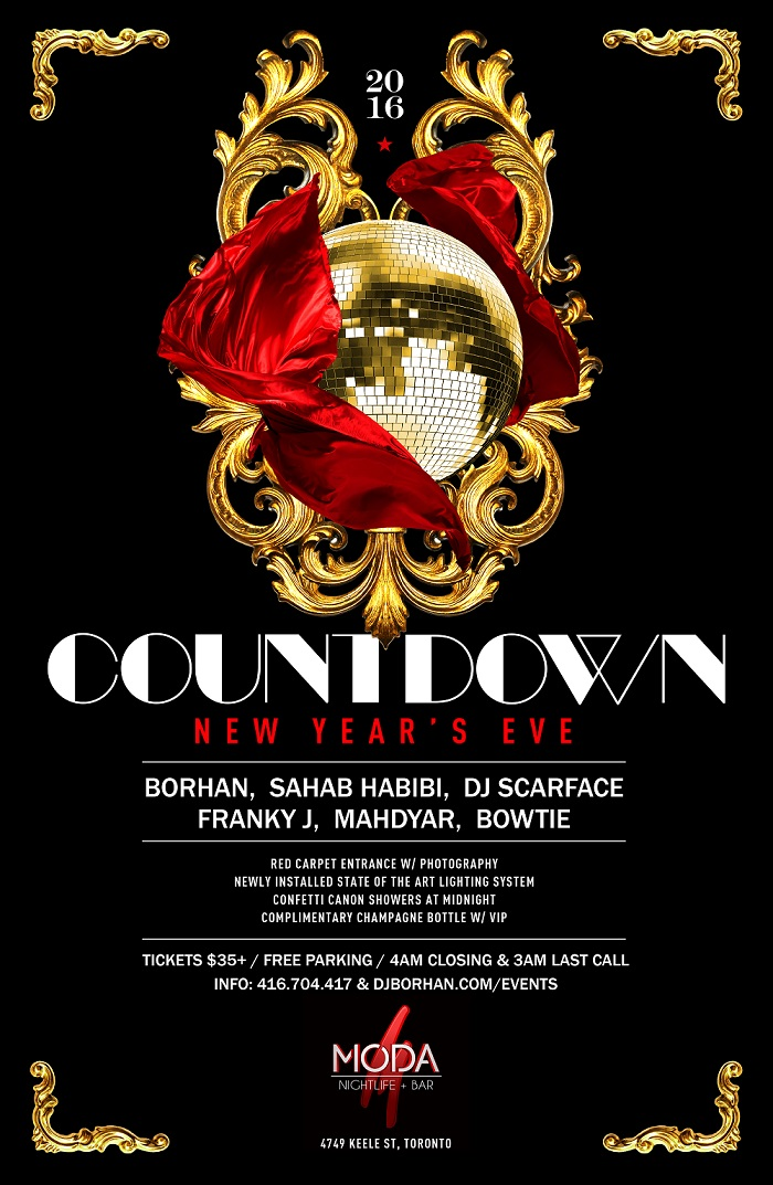 countdown persian NYE Toronto party